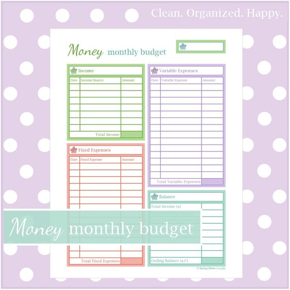 Budget worksheets for middle school