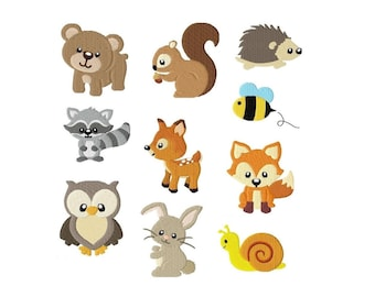 Embroidery Design Set Woodland animals 4'x4' - DIGITAL DOWNLOAD PRODUCT