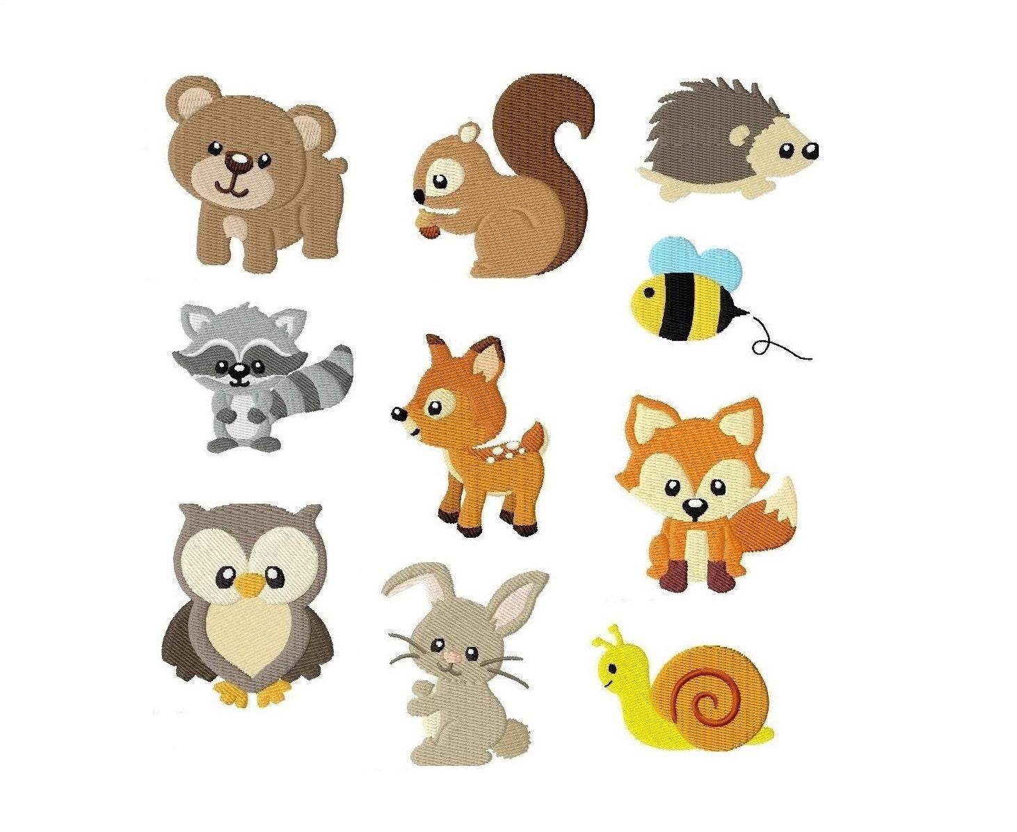 Embroidery design set woodland animals x digital