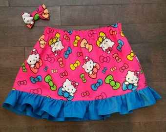 Hot Pink Hello Kitty Skirt and Mini Bow