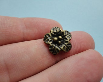 Bronze Flower Charm 8pcs 15x15mm F045