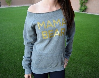 HOT - mama bear sweatshirt wide neck. Momma Bear. Mama Bear Off Shoulder Sweater. Sweater for mother to be - Lots of colors Mom to be