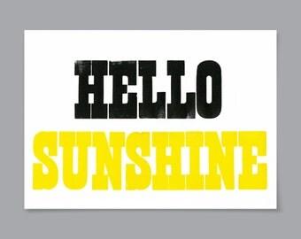 HELLO SUNSHINE A4 Letterpress Print