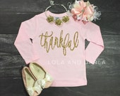 Thankful TODDLER and GIRLS long sleeve Thanksgiving sparkle t shirt