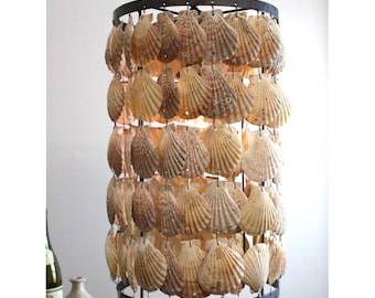 Round Cylinder Scallop Shells Chandelier Pendant Light with Iron Frame Beach High Designer Style