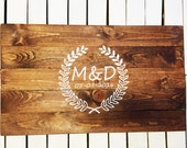 Rustic Vine or Wreath design Wooden Guest Book Alternative. Wood Sign Guest Book Personalized with Monogram