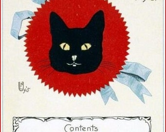 "Animal-Cat-Black-Cat.  Short story publication, 1896 8 x 10""  canvas art print"