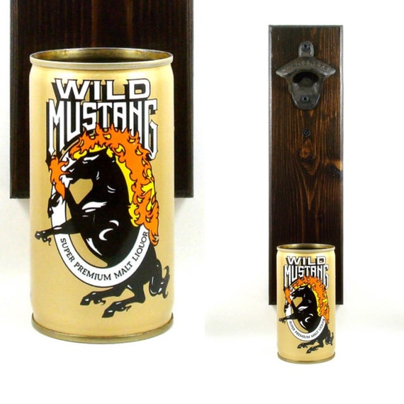 Wall Mounted Bottle Opener With A Vintage Wild Mustang Malt