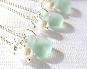 Wedding Sea Glass Jewelry SET of 3 Genuine Beach Glass   Garden Leaf Seaside