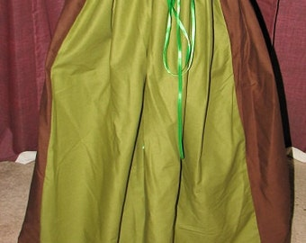 Medieval Renaissance Pirate Civil War Brown and Olive Green Drawstring Skirt