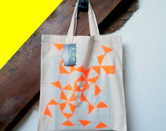 Bag Tote Bag ethnic orange fluo and yellow.