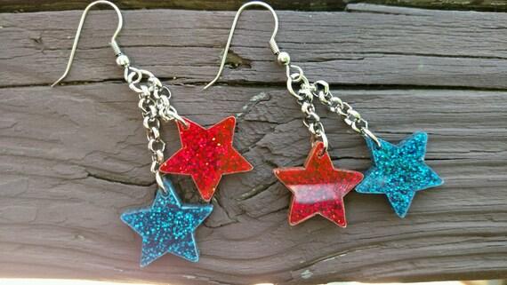 4th Of July Earrings Earrings Star Earrings Red White