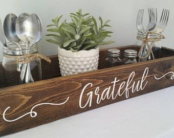 Grateful rustic centerpiece box, Table centerpiece, Farmhouse Table Decor, Dining Table Decor, Mantle Decor, Rustic Wooden Box, Grateful