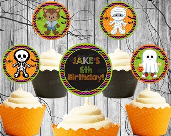 Halloween Cupcake Topper, Printable DIY Kids Halloween Birthday Cupcake Topper, Chalkboard Birthday Party Decoration 2 inch Circle Favor Tag