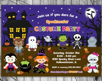 Costume Party Invitation, HALLOWEEN Invitation, Kids HALLOWEEN Invitation PRINTABLE, Halloween Birthday Invitation, Halloween Party Invite