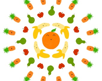 Crazy Fruit Pattern Giclee Print