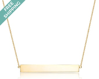 Gold Plated Sterling Silver Single Bar Necklace
