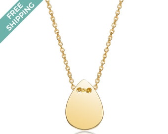 Gold Plated Sterling Silver Tear Drop Necklace