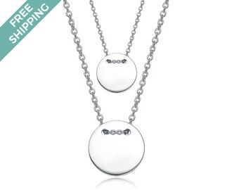 Sterling Silver Double Button Drop Necklace