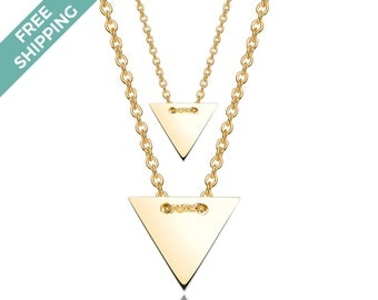 Sterling Silver Gold Plated Double Triangle Necklace