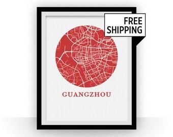Guangzhou Map Print - City Map Poster