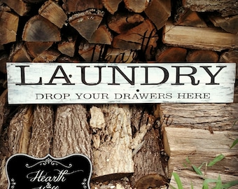Hand Painted Reclaimed Wood Laundry Sign
