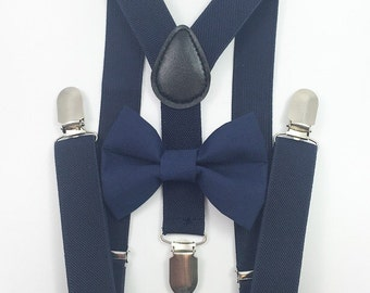 FREE DOMESTIC SHIPPING! Navy blue Suspenders + navy blue  bow tie baby kids boy boys teens adult formal holiday photos family pictures