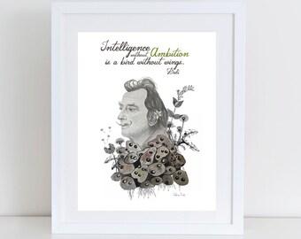Salvador Dalí print, Dalí illustration, Dalí portrait, Dalí Print, Dalí drawing, Dalí watercolor, Dalí art, Dalí with flowers, Salvador Dalí