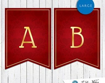 Large Hearts Themed Banner :  Printable Party Banner All Letters 0-9 numbers