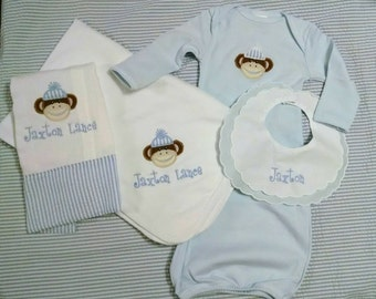 personalized baby boy layette set,appliqued sock monkey,baby gown,burp cloth,blanket,bib,monogrammed basket,baby shower gift,going home set