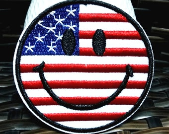 Rainbow Smile Face USA Flag (7.5 x 7.5 cm) Embroidered Applique Iron on Patch (B)