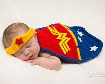 Wonder Women newborn set-Superhero Newborn set-Superman newborn set-Photo Prop-BabyShower Gift-Baby Hat-Superhero set-Superhero Cape