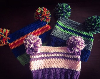 Baby beanie-Pom Pom hat- Baby hat-Crochet baby hat-Photoprop-BabyGift-winter hat -Pom Pom beanie