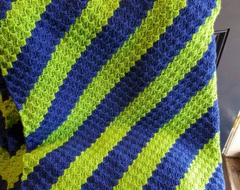 C2C couch blanket (royal/spring green), adult throw, afghan,  FREE SHIPPING