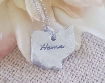 Hand Stamped Jewelry-Personalized necklace-Hand Stamped Ohio Necklace-Home Ohio Necklace-State of Ohio-Ohio Shaped Disc-Ohio Pewter