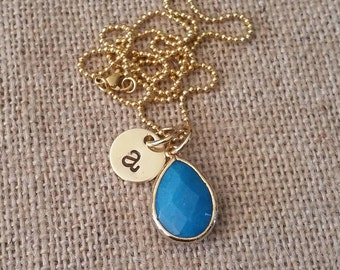 Personalized Hand Stamped Necklace-Tiny Gold Initial-Jade Blue Stone Pendant Necklace