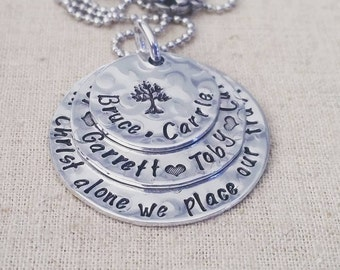 Hand Stamped Jewelry-Personalized Mother's Necklace-Stacked mother's necklace-Family Tree Personalized Mother's Necklace-Layered Stacking
