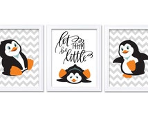 Penguin Nursery Art Set of 3 Print Black White Orange Grey Gray Dream Let Them Be Little Kid Room Wall Decor Chevron