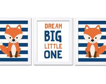 Fox Nursery Art Set of 3 Prints Orange Navy Blue Dream Big Little One Child Kid Boy Room Wall Decor Woodland Animal Forest