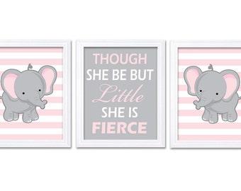 Elephant Nursery Art Set of 3 Prints Pink Grey Though She Be But Little She is Fierce Child Kid Girl Room Wall Decor Jungle Safari Africa