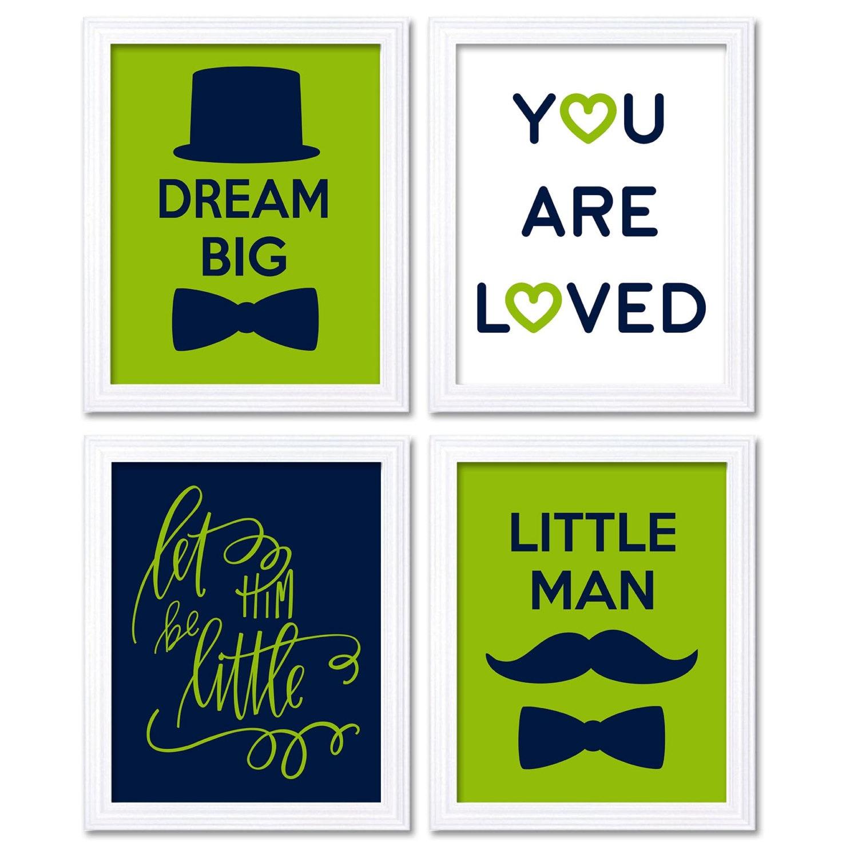 Little Man Art Nursery Art Deep Navy Blue Lime Green Nursery Print Set of 4 Mustache Bowtie Let Them