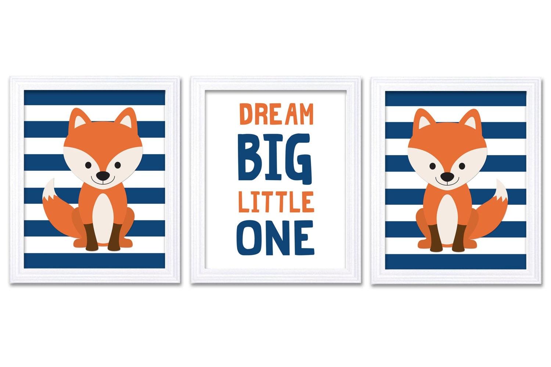 Fox Nursery Art Set of 3 Prints Orange Navy Blue Dream Big Little One Child Kid Boy Room Wall Decor