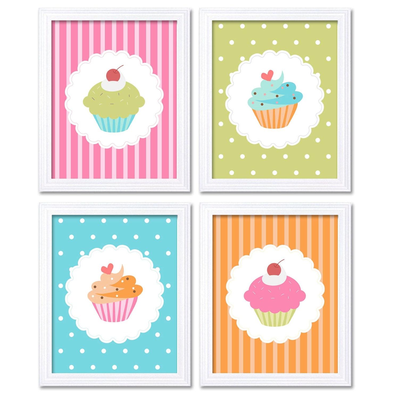 Kids Art Nursery Art Nursery Print Child Baby Art Cute Colorful Cupcakes Print Set of 4 Pink Blue Or