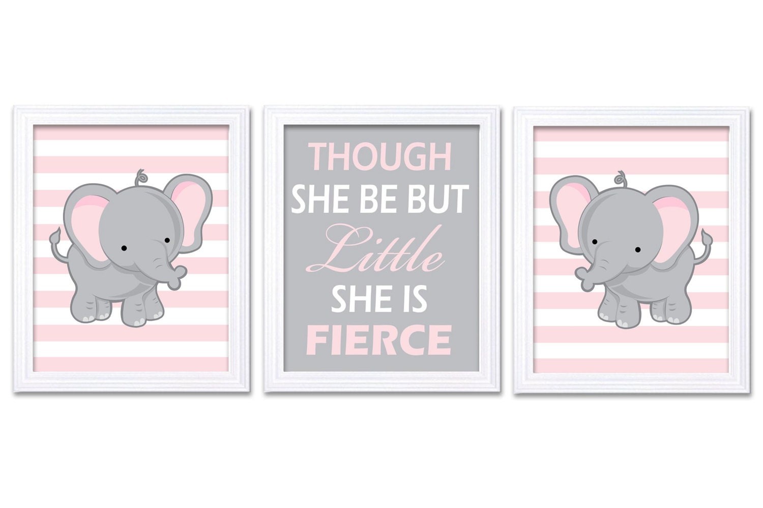 Elephant Nursery Art Set of 3 Prints Pink Grey Though She Be But Little She is Fierce Child Kid Girl