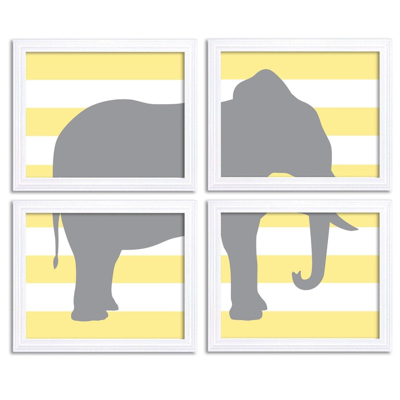 Elephant Nursery Art Set of 4 Prints Yellow Grey Nursery Art Stripes Child Art Kids Wall Decor Baby