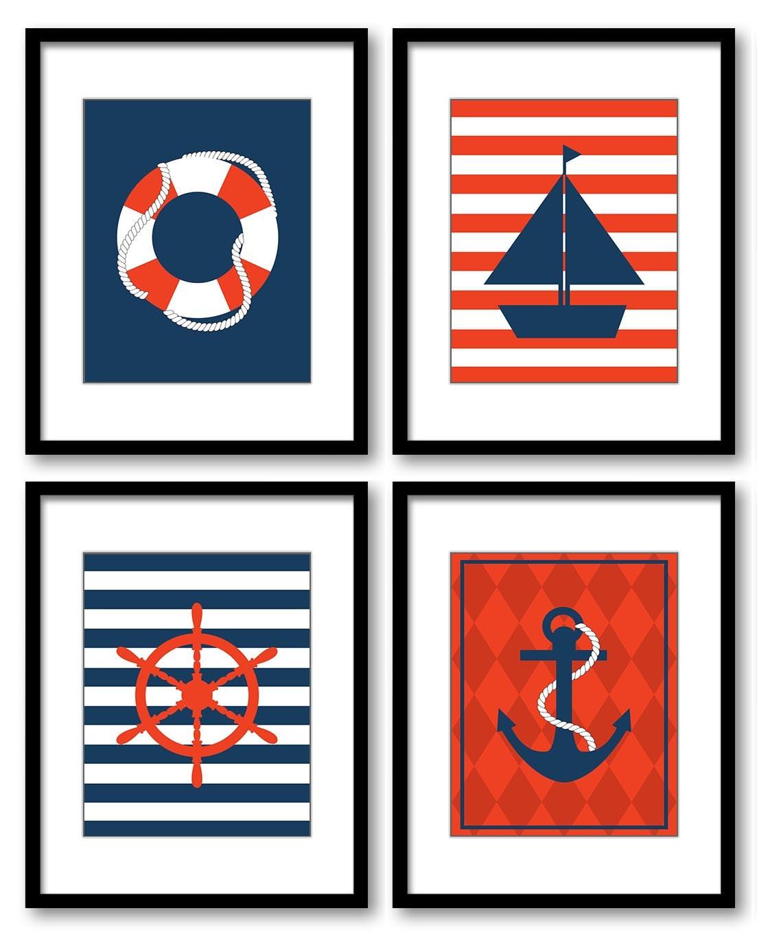Nautical Nursery Set of 4 Prints Boy Nursery Wall Decor Navy Blue Red Ocean Beach Kid Bedroom Bathro