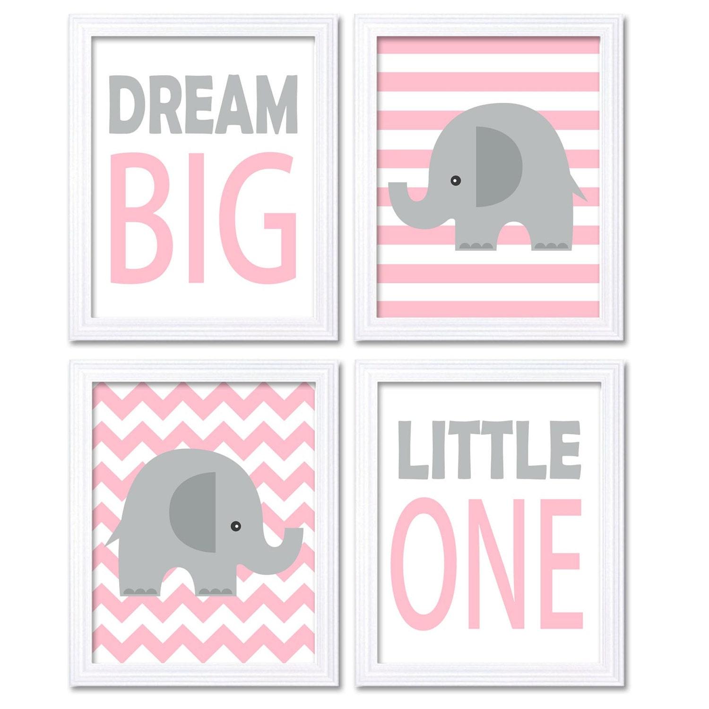 Pink Gray Grey Elephant Nursery Art Dream Big Little One Set of 4 Prints Stripes Chevron Child Kid R