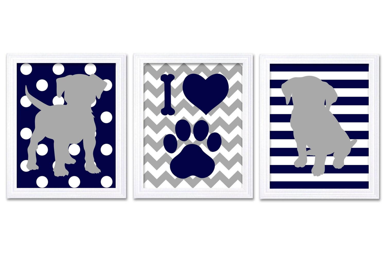 Puppy Dog Nursery Art Puppy Prints Set of 3 Navy Blue Grey Stripes Polka Dots Chevron Baby Wall Deco