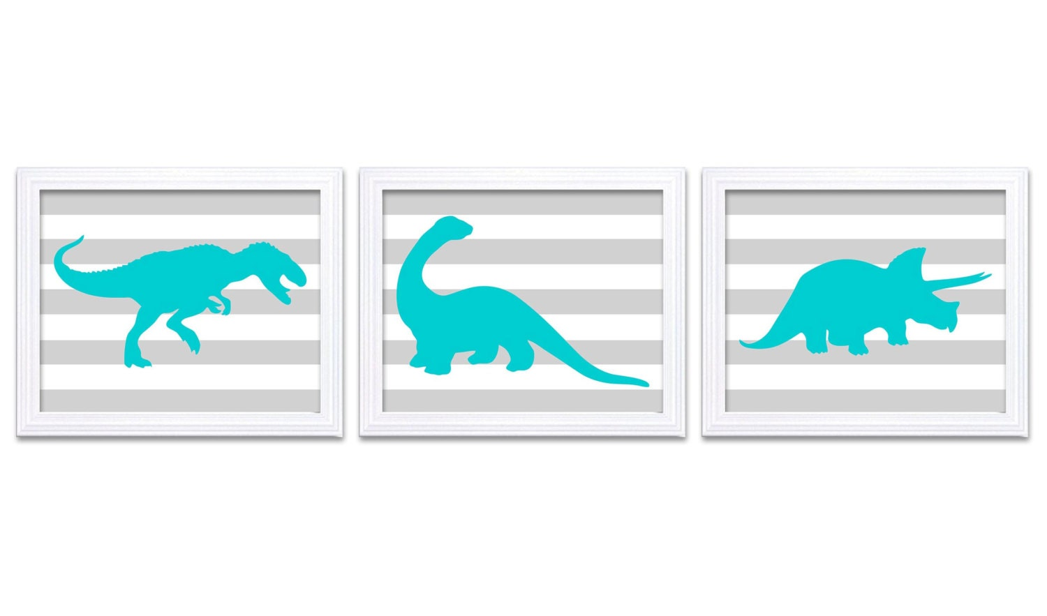 Dinosaur Nursery Art Dinosaur Prints Set of 3 Blue Turquoise Grey Stripes Tyrannosaurus Rex Tricerat