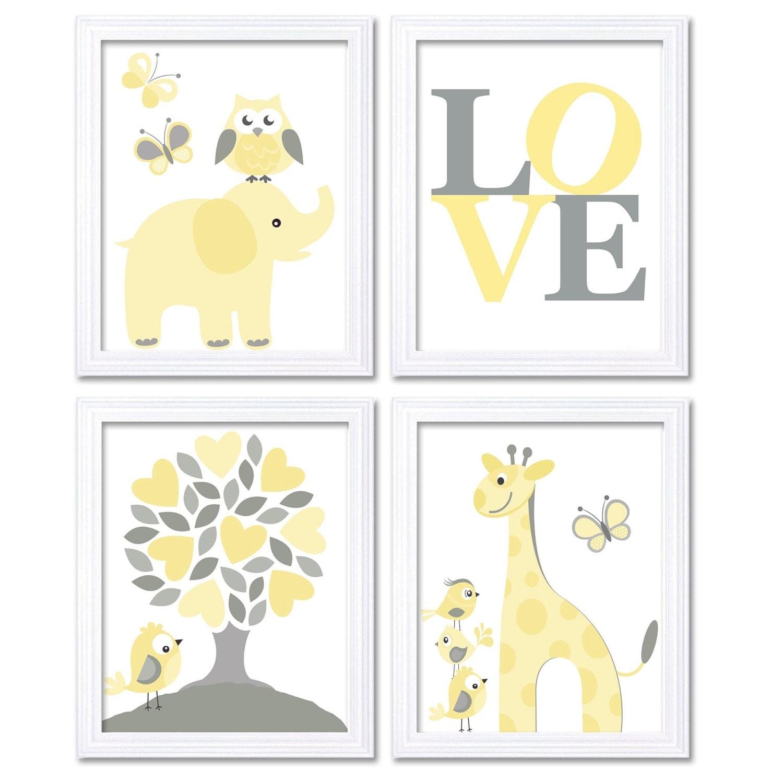 Nursery Art Yellow Grey Love Set of 4 Prints Owl Giraffe Elephant Bird Butterfly Child Baby Nursery